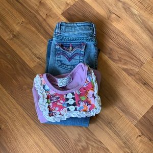 Levis boot cut jeans with ruffle floral shirt